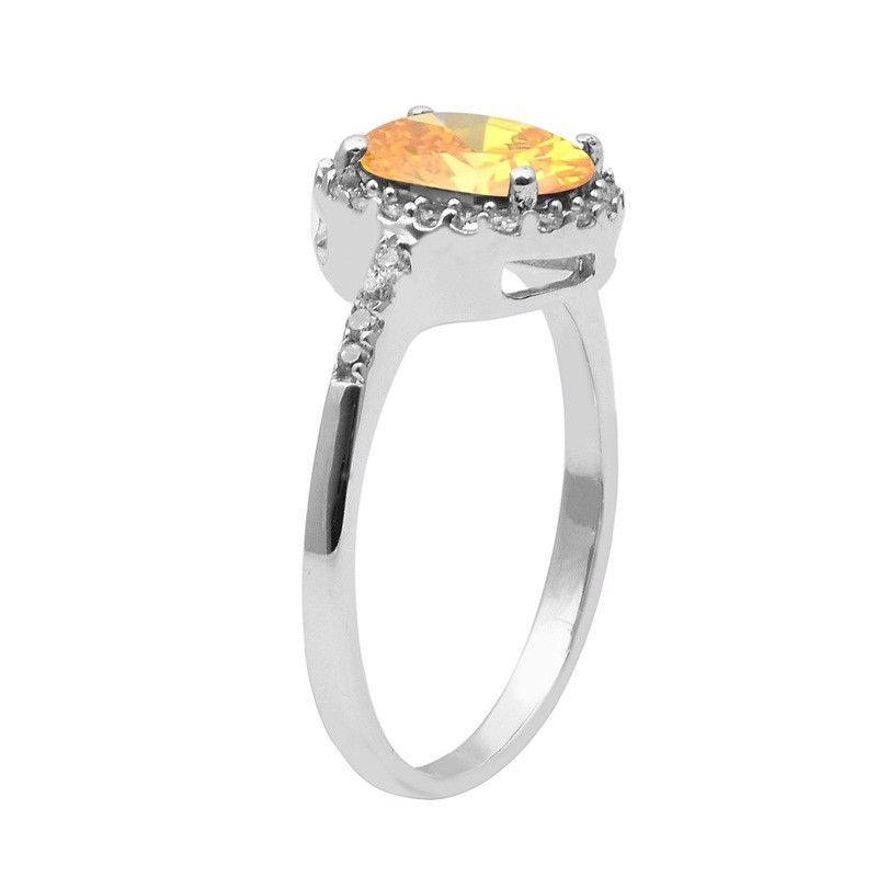 Yellow Cz & White Topaz 925 Sterling Silver Ring Shine Jewelry Size-8 SHRI1491