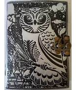 Owl black and silver 240 page leather blank book with latch - $34.99