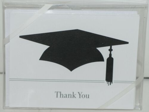 Rosanne Beck 2110666X Folded Note Black Cap Thank You and Envelopes 10 in Pack