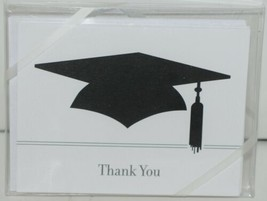 Rosanne Beck 2110666X Folded Note Black Cap Thank You and Envelopes 10 in Pack image 1
