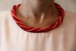 Red and pink coral bead necklace, handmade necklace - $60.00