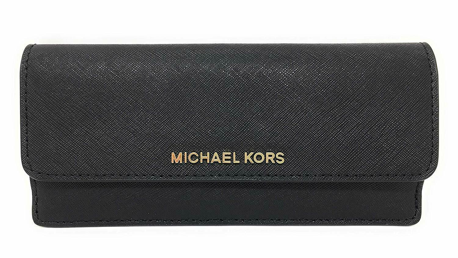 Primary image for NEW! Michael Kors Jet Set Travel Flat Saffiano Leather Wallet-Black/Gold