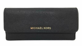 NEW! Michael Kors Jet Set Travel Flat Saffiano Leather Wallet-Black/Gold - $128.58