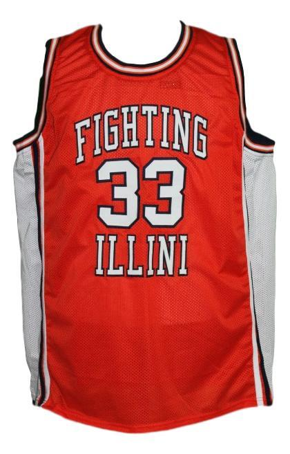 Kenny battle  33 custom fighting illini college basketball jersey orange   1