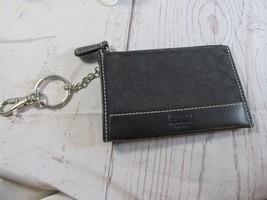 Coach Black Logo Leather Trim Zip Keychain Coin Purse Pouch ID Holder Wa... - $18.80