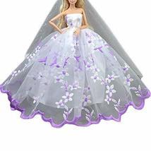 PANDA SUPERSTORE Embroidery Doll Wedding Dress White Gauze Dress Handmade Doll C