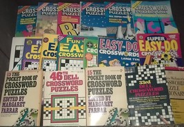 18 VINTAGE CROSSWORD PUZZLE BOOKS- CROSSWORD PUZZLES ONLY;DELL;POCKET BO... - $19.99