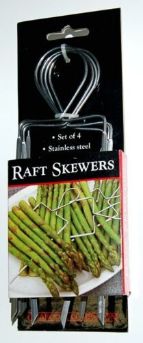 Charcoal Companion CC5135 Raft Skewers Set of 4 Stainless Steel