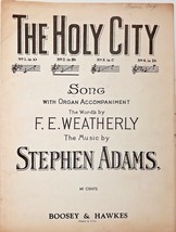 Sheet Music - The Holy City - Song with Organ Accompaniment by Stephen A... - $21.16