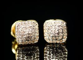 Round Cut White Diamond 14k Yellow Gold Plated 925 Sterling Silver Stud Earrings - $89.67