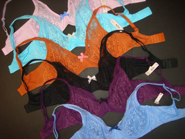 Victoria's Secret 34DD unlined BRA LOT BLUE Black Ginger Lilac Purple Tu... - $138.59