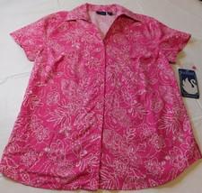 Gloria Vanderbilt Casual Manga Corta Camisa Blusa Mujer Talla S Rosa - $21.28