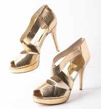 Michael Kors The Jetset 6 Womens Leather Heels Pumps Sz 9 Gold Snake Emb... - $59.39