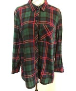 FADED GLORY Women's Plaid Multi Color Flannel Button Down Shirt Top Size 1X - $0.98
