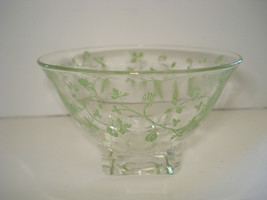FRENCH DESSERT DISHES GLASS GREEN FLORAL DESIGN SET OF4 - $20.32
