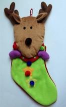 Christmas Stocking Reindeer * NEW * Stuffed Animal Head Arms Soft Pom Po... - $9.74