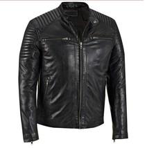 New Mens Black Handmade Cowhide Genuine Leather Real Bespoke Leather Jacket - $118.79+