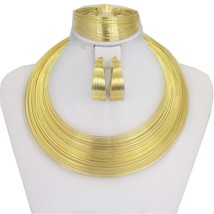 Liffly Fashion Dubai Gold Jewelry Sets for Women African Wedding Wire Ch... - $25.33
