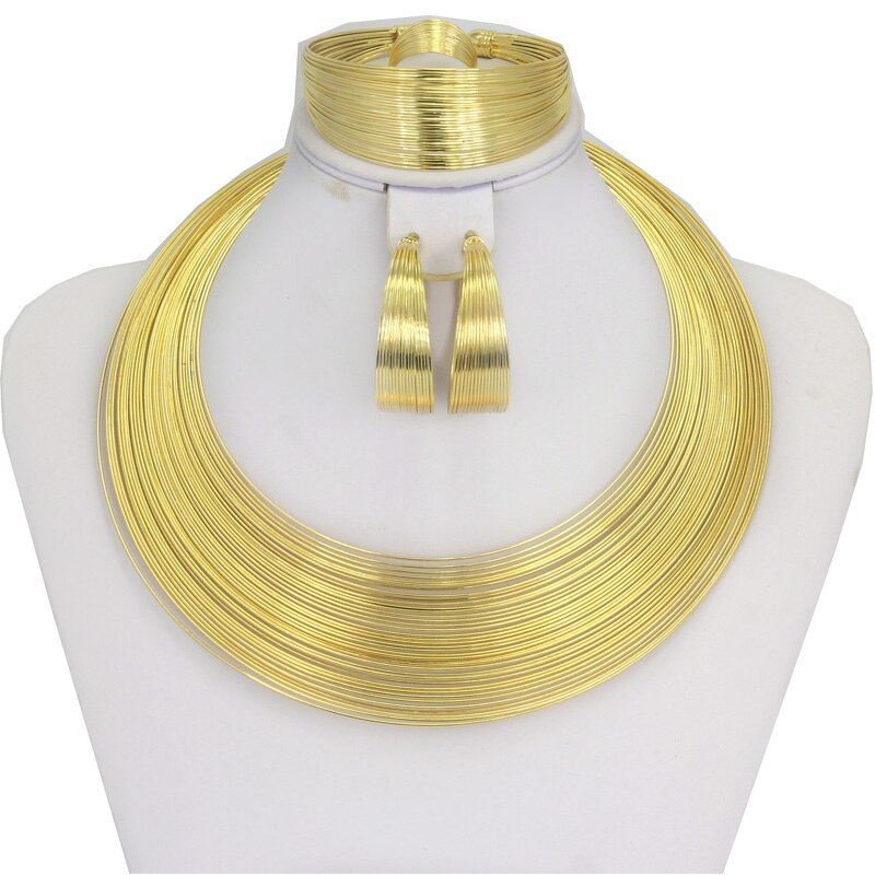 Primary image for Liffly Fashion Dubai Gold Jewelry Sets for Women African Wedding Wire Charm Neck