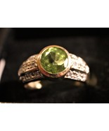 Grand - Peridot and 14k Yellow Gold Ring w/Diamond Accents - $148.00