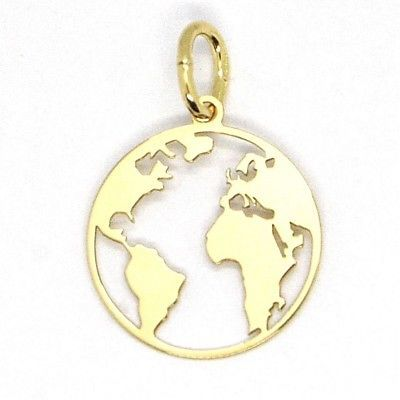 Pendentif en or Jaune 750 18K, Globe Plat, Perforé, 16 MM