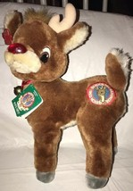 Applause Stuffed Plush Christmas Rudolph Red Nosed Reindeer 50th Anivers... - $19.79