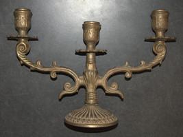 Judaica Shabbat Candlestick Candle Holder Candelabra Bronze Vintage Israel 1960s image 8