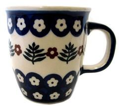 Polish Pottery Blue Flower Floral Mug Cup Handmade Boleslawcu Lisiecka Poland - $21.31