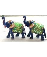 2 pc Resin mirror work Elephant figurine statue home decoration gift - $45.79