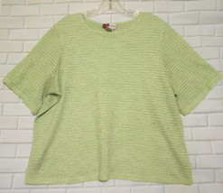 JM Collection Pale Green Size 1X Polyester Boat Neck Short Sleeve  Top B... - $15.55