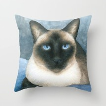 Throw Pillow Cushion case Made in USA Cat 547 Siamese blue art painting L.Dumas - $29.99+