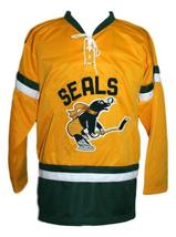 Custom Name # San Francisco Seals Retro Hockey Jersey Yellow Mickoski Any Size image 1