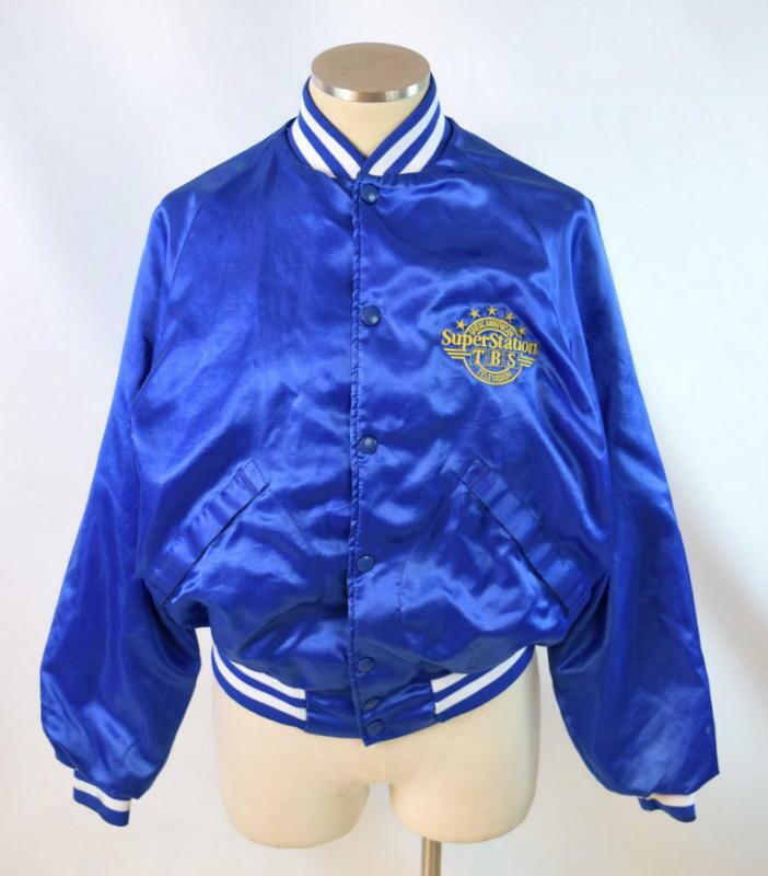 Vintage 80s Blue Satin Jacket TBS Super Station Windbreaker Retro Mens Size S