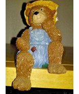 Country Brown Bear Fishing Collectible Figurine Overalls Hat Shelf Decor - $6.00