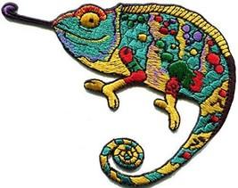Chameleon lizard retro hippie boho 70s embroidered applique iron-on patc... - $8.56