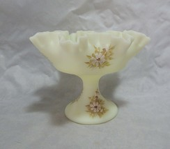 Fenton Glass Yellow Satin Hand Painted Footed Bowl - $19.80