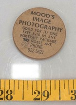 Vintage Wooden Nickel Mood's Image Photography Pittsburgh PA tthc - $9.89