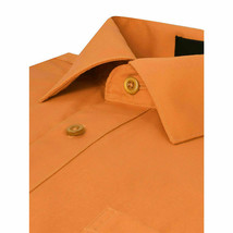 Omega Italy Men's Button Up Long Sleeve Solid Orange Dress Shirt w/ Defect XL image 2