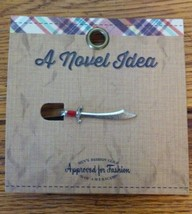 A Novel Idea Antiqued Silver/Red Metal Sword Tie Clip