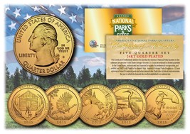 2015 America The Beautiful 24K GOLD PLATED Quarters Parks 5-Coin Set w/C... - $12.82