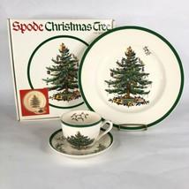 Spode Christmas Tree Buffet Set 3 Piece Box Dinner Plate Cup Saucer England - $26.68