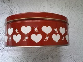 Valentine's Day Metal Tin Can Red White Hearts Tulips - $12.99