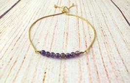 Dainty amethyst adjustable bracelet, mindfulness gift, Bolo slide bracelet - $12.00