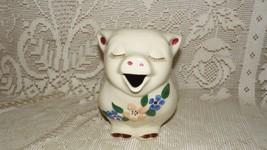 VINTAGE SHAWNEE POTTERY USA SMILEY SMILING PIG PITCHER FLORAL DESIGN - $64.30