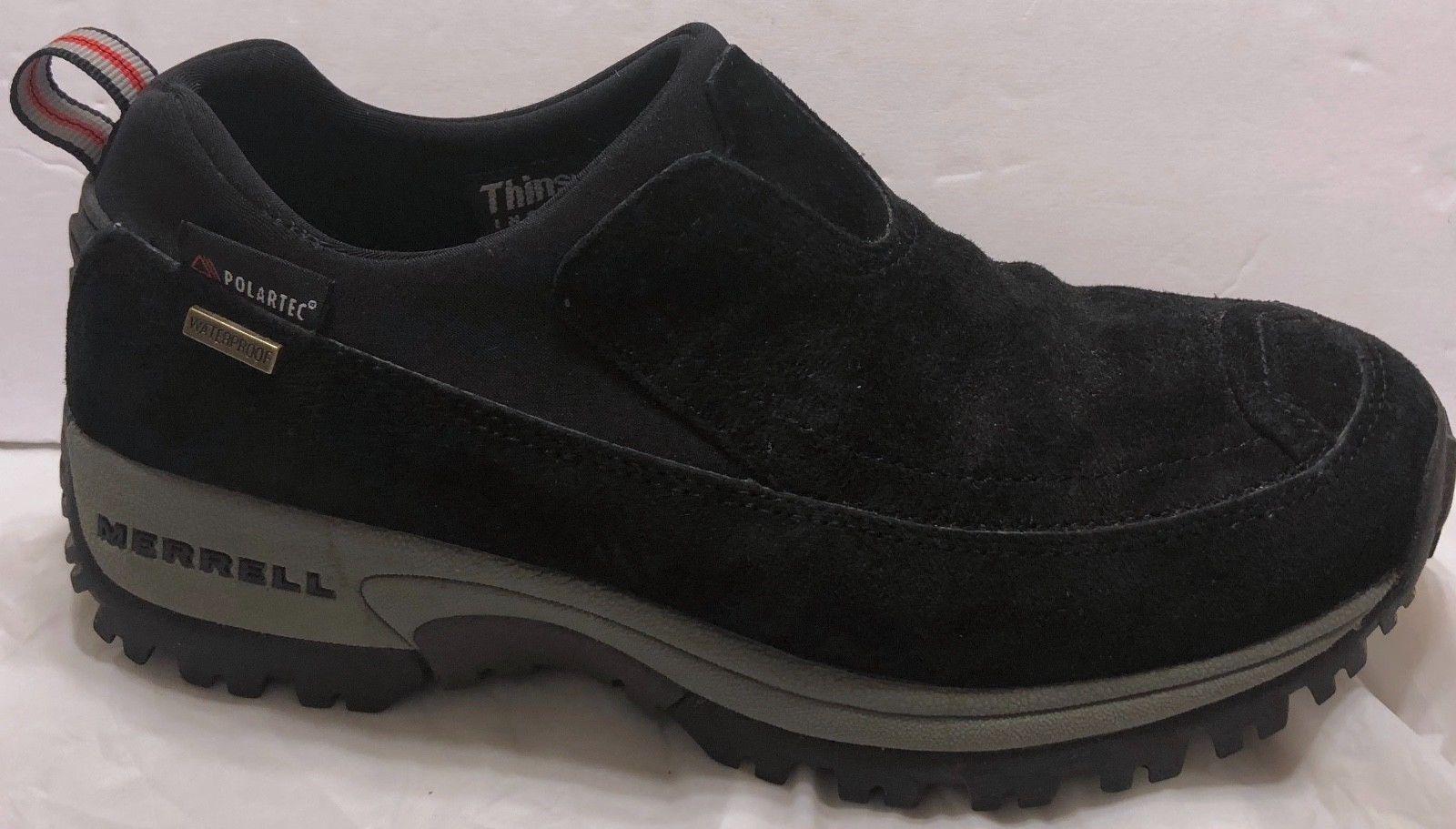 Merrell Polartec Waterproof Nubuck Moc Black Shoes Size 7 Slip On Hiking Trail