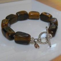 SX 925 Silver Tigers Eye Stone Toggle Bracelet  - $24.74