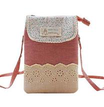 Fashion Cell Phone Cross Body Bag Utility Zipper Coin Bag Messenger Bag, RED
