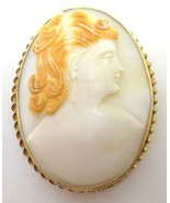 Large Oval 14k Gold Genuine Natural Shell Cameo Pin / Pendant (#J3772) - $335.75