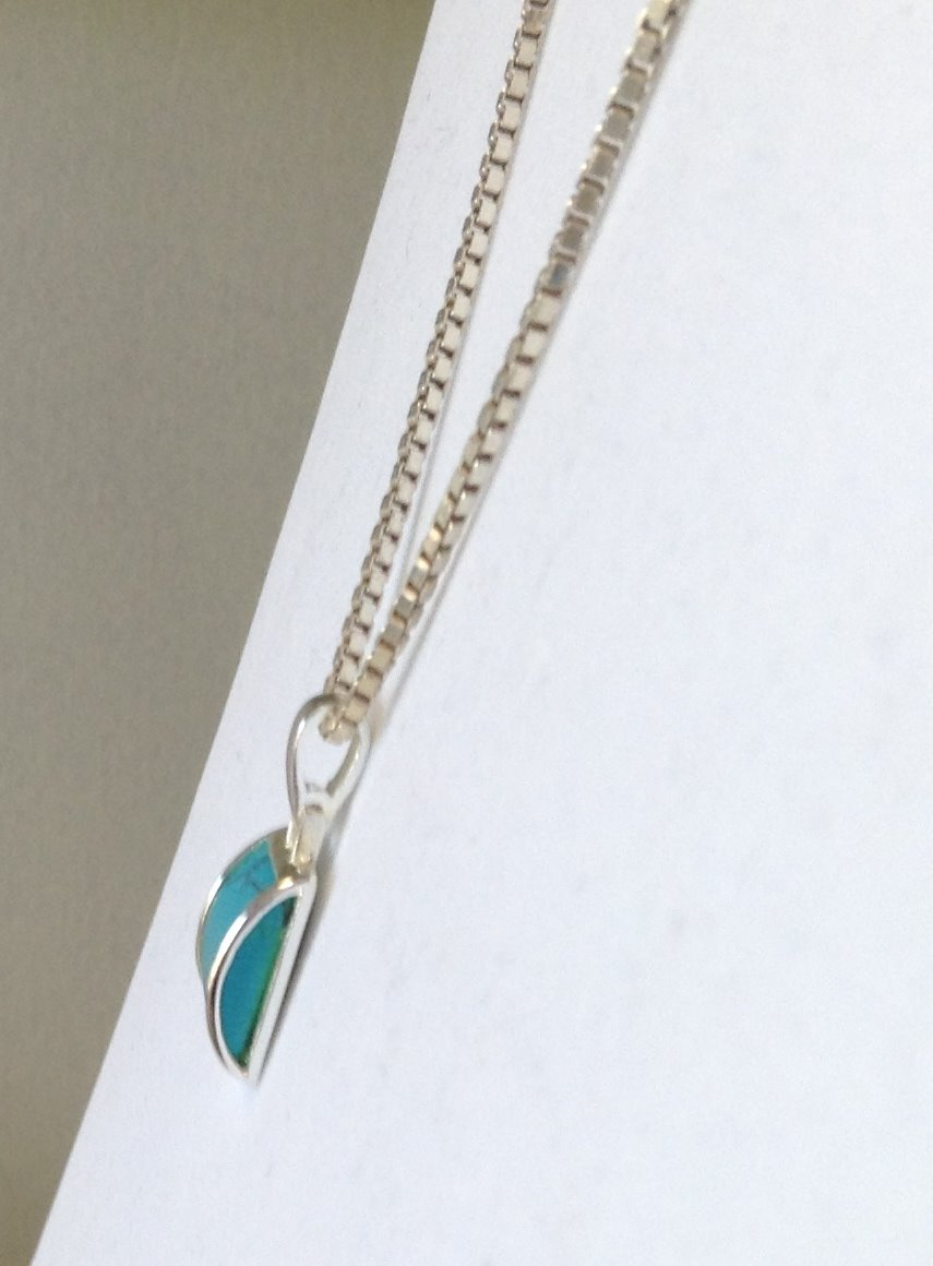 Turquoise Howlite  .925 Silver Pendant with 18 Inch  SS Box Link Chain New