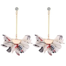 Simple Sweet Flower Earrings Fashion Accessories Black - $25.99